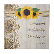 Lace and sunflowers on wood wedding tile