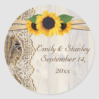 Lace and sunflowers wood wedding Save the Date Classic Round Sticker