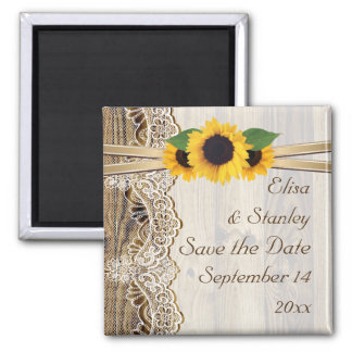 Lace and sunflowers wood wedding Save the Date Magnet