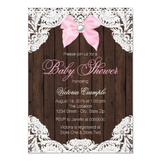 Lace and Wood Baby Shower Card
