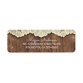 Lace and Wood Rustic Barn Wedding Label