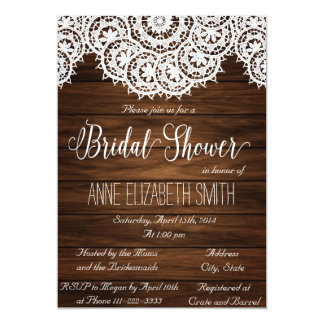 Lace and wood Rustic Bridal Shower Invitation II