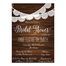 Lace and wood Rustic Bridal Shower Invitation III at Zazzle
