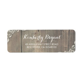 Rustic Lace and Wood Return Address Labels
