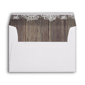 Lace and Wood Rustic Wedding Envelope