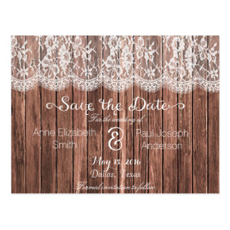 Lace and wood Save the Date IV Postcard