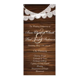 Lace and wood wedding program III