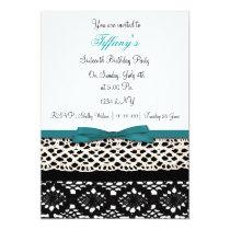 lace aqua damask Sweet Sixteen party Invitation