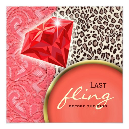 Lace Bachelorette Party Red Coral Diamond Ring 5.25x5.25 Square Paper Invitation Card
