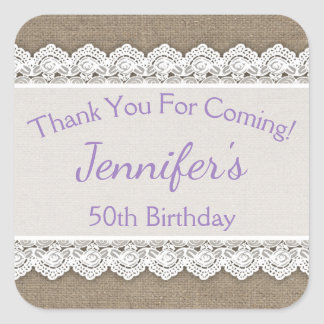 Lace Birthday Thank You Favor Tags Lavender Lilac