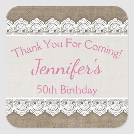 Lace Birthday Thank You Favor Tags Pink Burlap