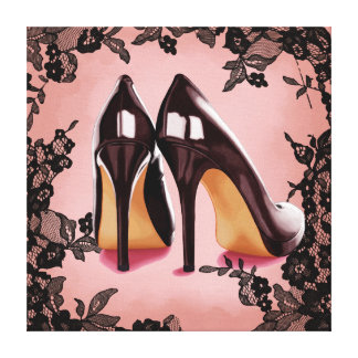 Lace black stiletto canvas print