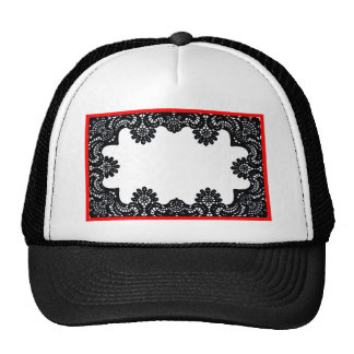 Lace Black & White Red Boarder The MUSEUM Zazzle G Trucker Hat