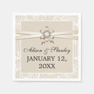 Lace border with beige ribbon & flower wedding napkin