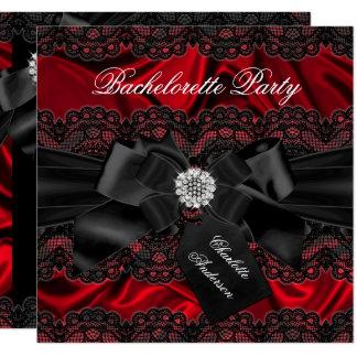 Lace & Bow Black Red Bachelorette Party Invite