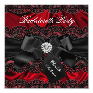 Lace & Bow Black Red Bachelorette Party Invite