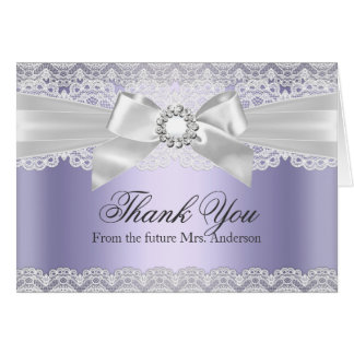 Lace & Bow Purple Bridal Shower Thank You Card