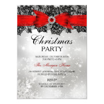 Lace Bow Silver Red Christmas Holiday Invite