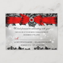 Lace & Bow Silver Red Christmas Holiday RSVP
