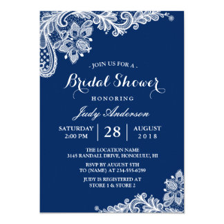 Lace Bridal Shower Trendy Navy Blue Card