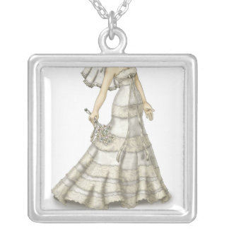 Lace Bride Silver Plated Necklace