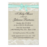 Lace Burlap and Bow Baby Shower Announcements