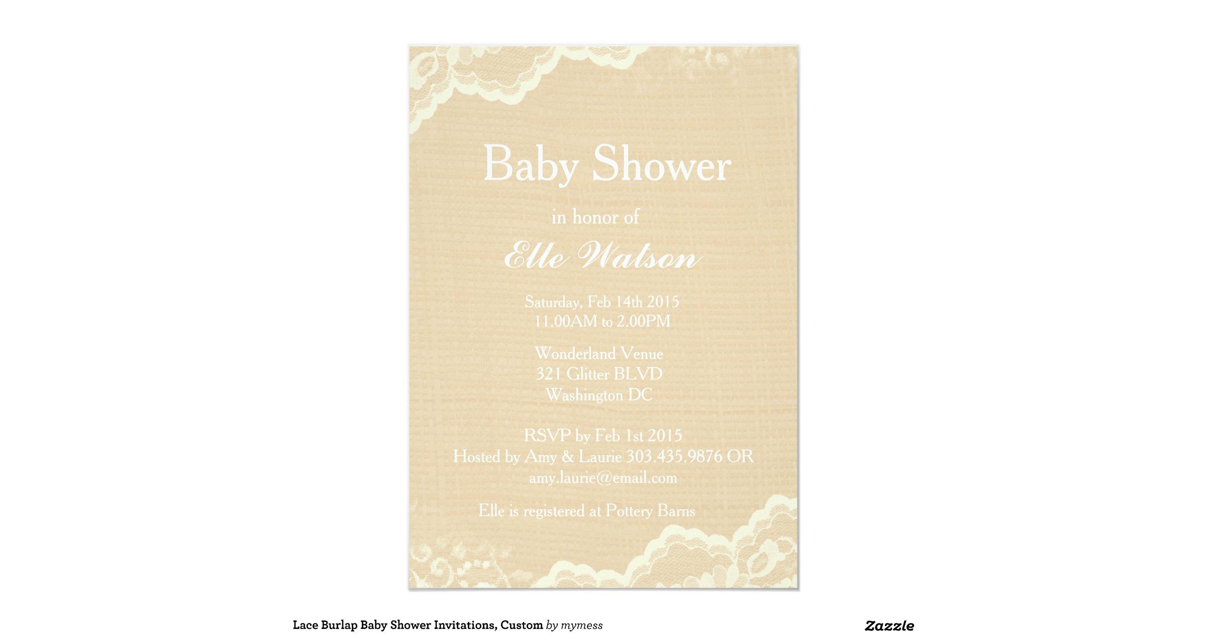 lace burlap baby shower invitations custom 5x7 paper invitation card