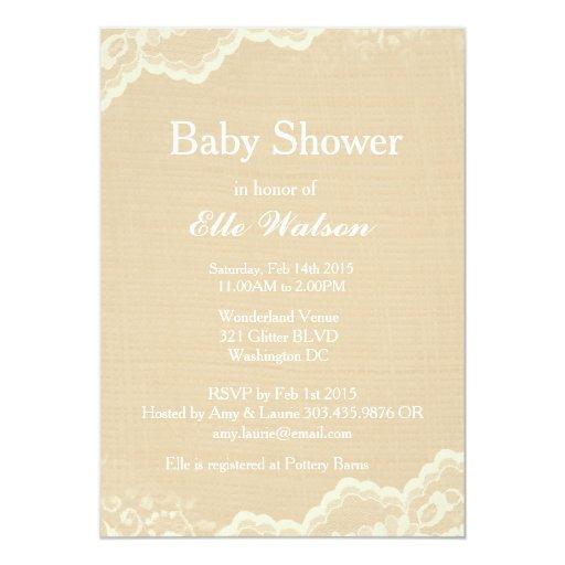 lace burlap baby shower invitations custom card zazzle