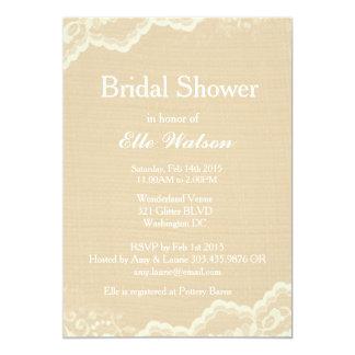 Lace Burlap Bridal Shower Invitations, Custom Card
