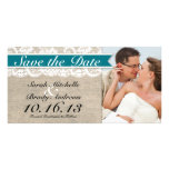 Lace & Burlap Look Save the Date -Turquoise Photo Card
