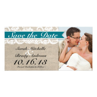 Lace Burlap Look Save the Date -Turquoise Photo Card