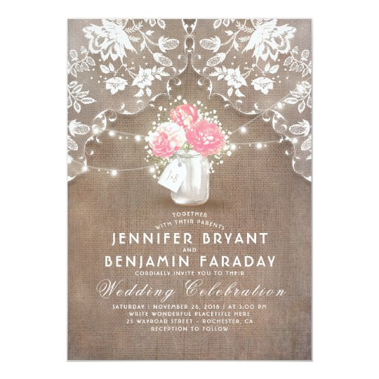 Burlap and Lace Wedding Invitation with Pink Peonies inside a Mason Jar