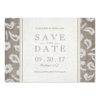 Lace burlap rustic country wedding save the date card