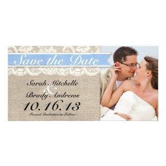 Lace Burlap Vintage Save the Date - Capri Custom Photo Card