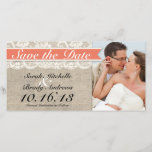 """Lace &amp; Burlap Vintage Save the Date - Coral<br><div class=""""desc"""">This custom wedding Save the Date Photo Card is the perfect combination of traditional and trendy. The burlap-look background is perfect for a rustic or vintage themed wedding and the lace-look accent adds a classic, romantic touch. Coordinates with full collection of matching CORAL Invitations, RSVP cards, custom postage, menu cards,...</div>"""