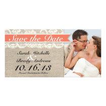 Lace & Burlap Vintage Save the Date - Coral Card
