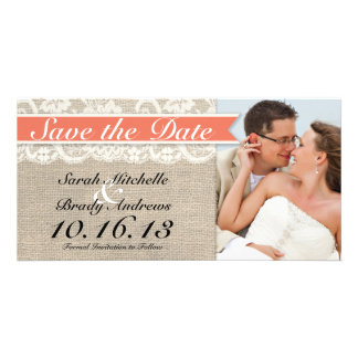 Lace & Burlap Vintage Save the Date - Coral Card