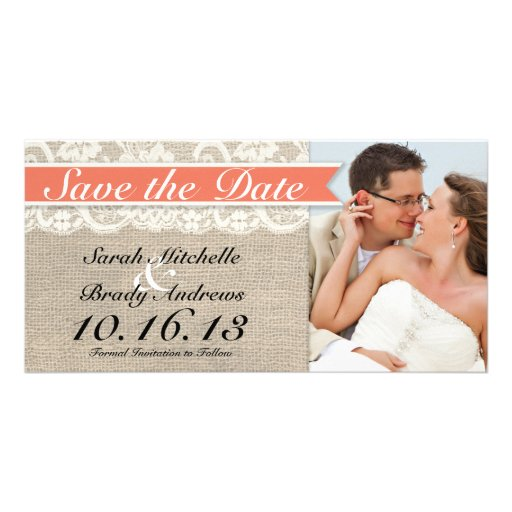 Lace & Burlap Vintage Save the Date - Coral Photo Greeting Card