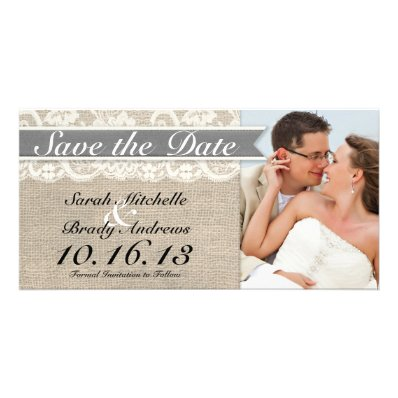 Lace & Burlap Vintage Save the Date - Gray Customized Photo Card