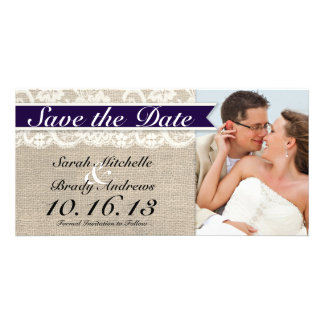 Lace & Burlap Vintage Save the Date - Navy Card