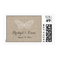 Lace Butterflies on Burlap Stamp
