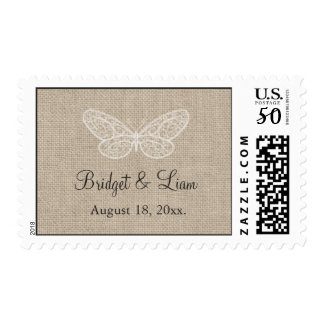 Lace Butterflies on Burlap Stamp 2