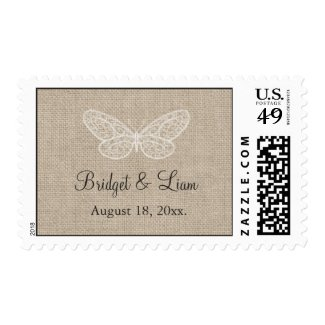 Lace Butterflies on Burlap Postage Stamps