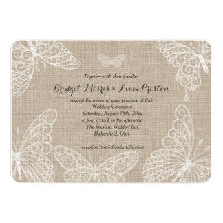 Lace Butterflies on Burlap Wedding Invitation