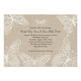 Lace Butterflies on Burlap Wedding Invitation 2