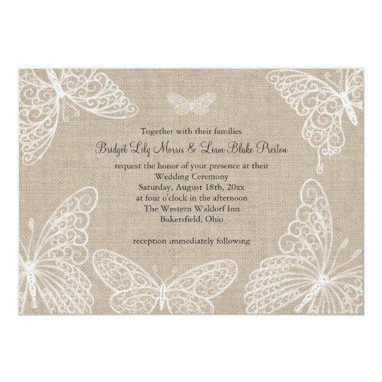Lace Butterflies On Burlap Wedding Invitation 2 Zazzle Com
