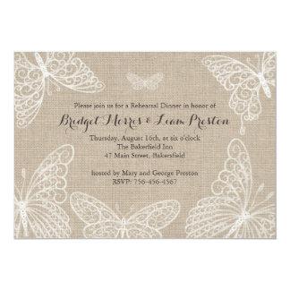 Lace Butterflies Rehearsal Dinner Invitation