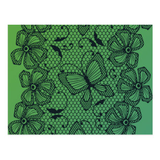 Lace butterfly and flower dance pattern postcard