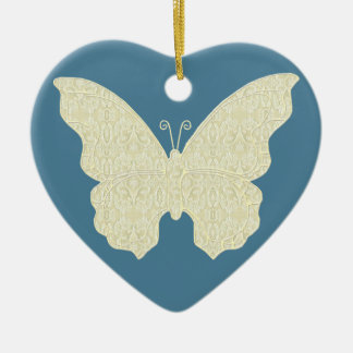 Lace Butterfly Heart Ornament