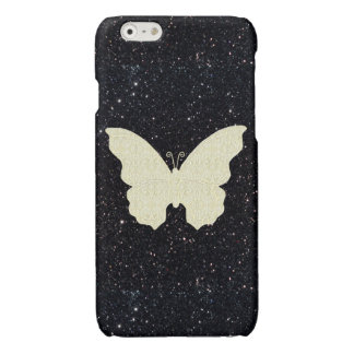 Lace Butterfly On Black Glitter iPhone 6 Case
